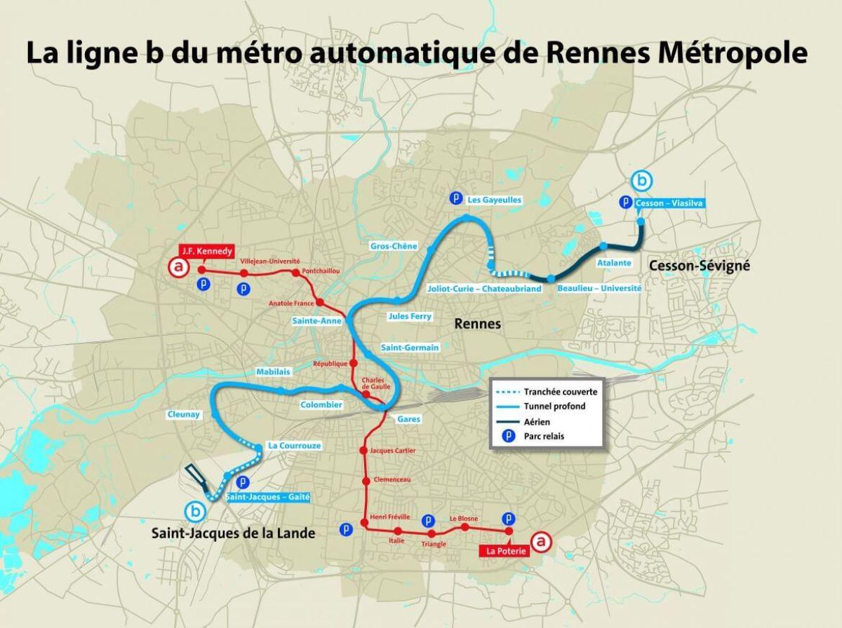 Tracé de la ligne B du métro rennais