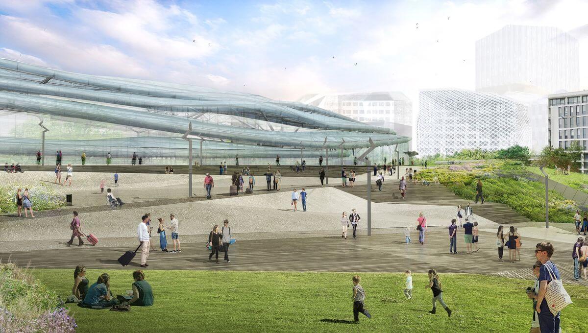 La nouvelle gare, vue de l'avenue Janvier