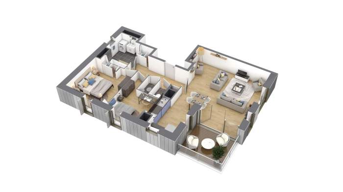 Appartements neufs Bourg-l'Évesque - la Touche - Moulin du Comte référence 4173 : aperçu n°3