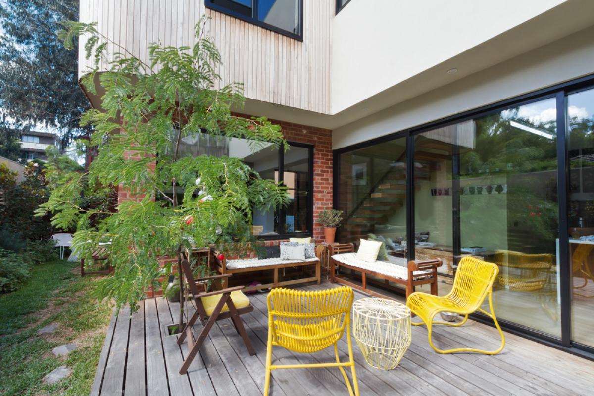 Maison sur l'eau - Terrasse d'un logement neuf
