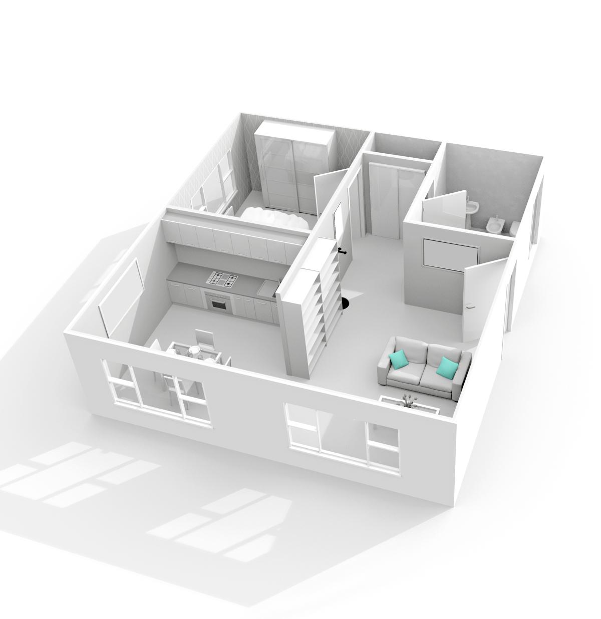 conseils investissement immobilier - Un plan d'un logement neuf en 3D