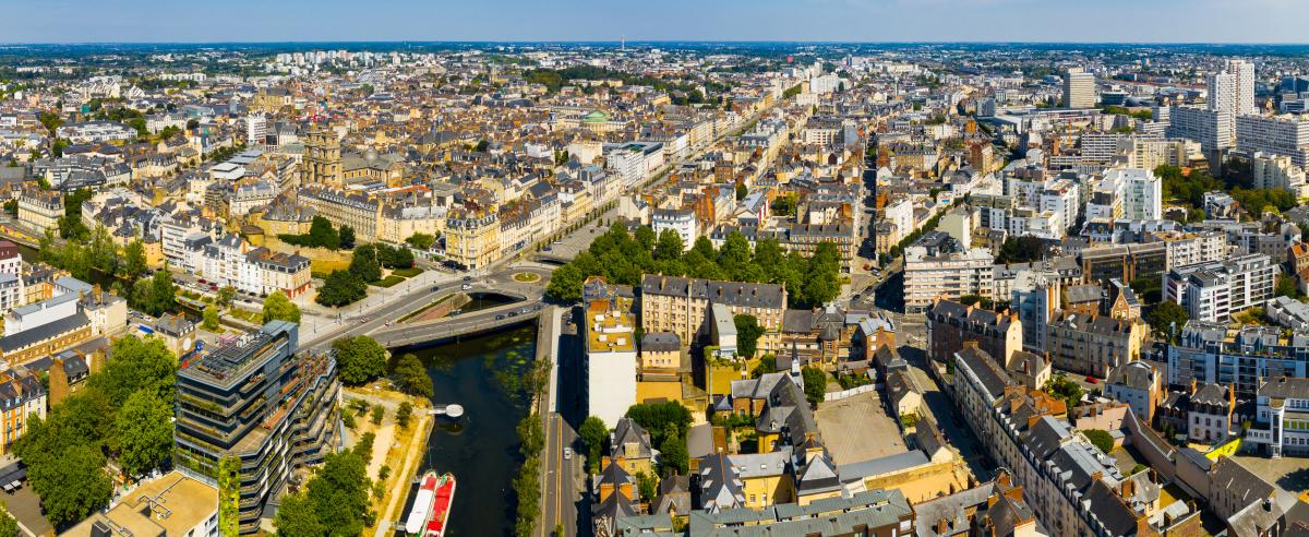 Taux immobilier à Rennes et en Bretagne –vue aérienne de Rennes