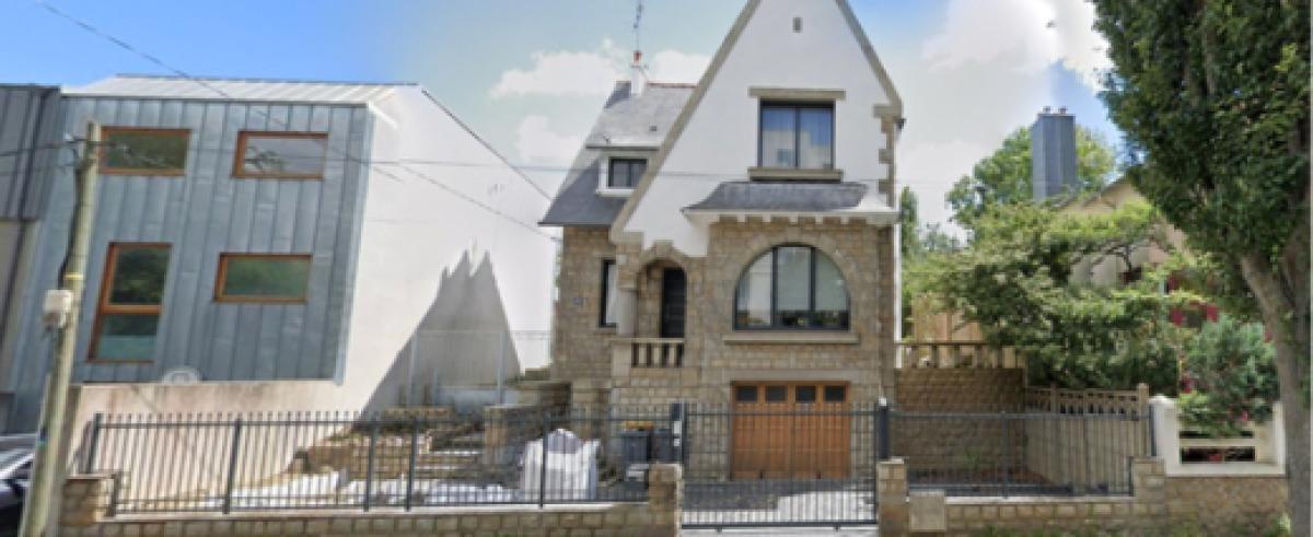 Deux maisons individuelles au style différent, côte à côte, à Rennes