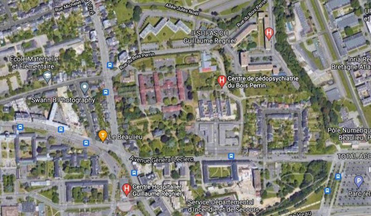 Bois Perrin à Rennes – Vue aérienne Google Map de la future ZAC du Bois Perrin