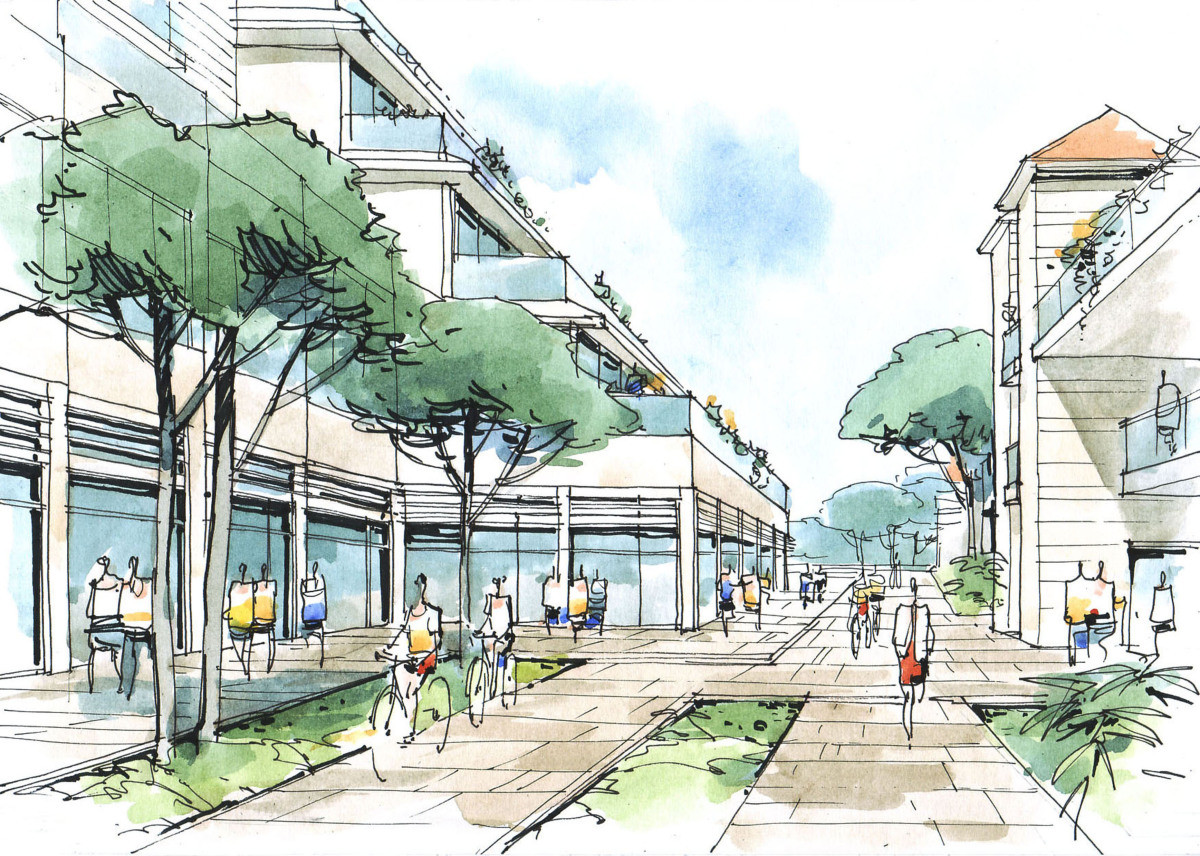 Quartier Le Blosne à Rennes – Dessin représentant le quartier d'une ville