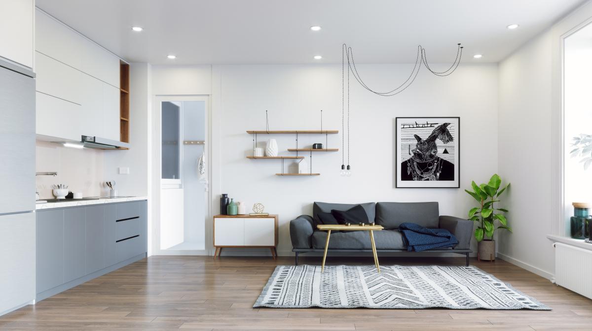 Immeuble écologique – Pièce de vie d'un appartement neuf
