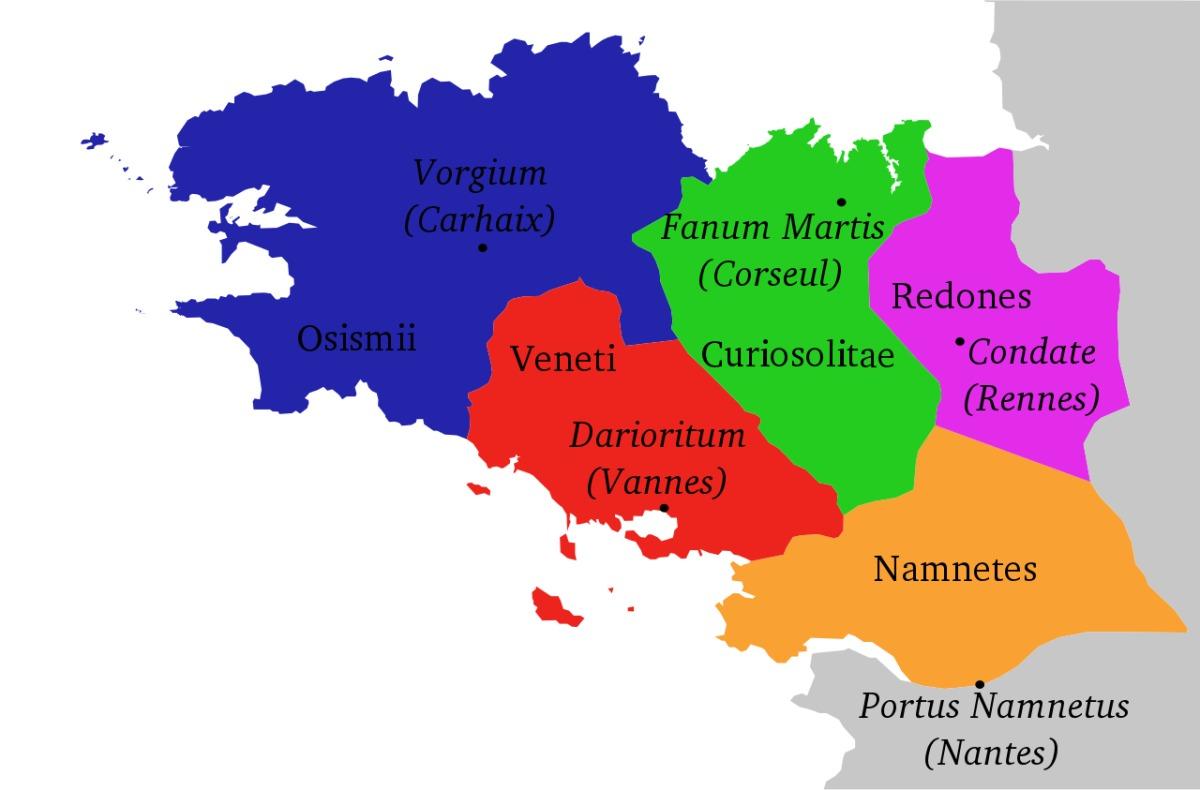 Histoire de Rennes - Carte de la Bretagne à l'époque romaine