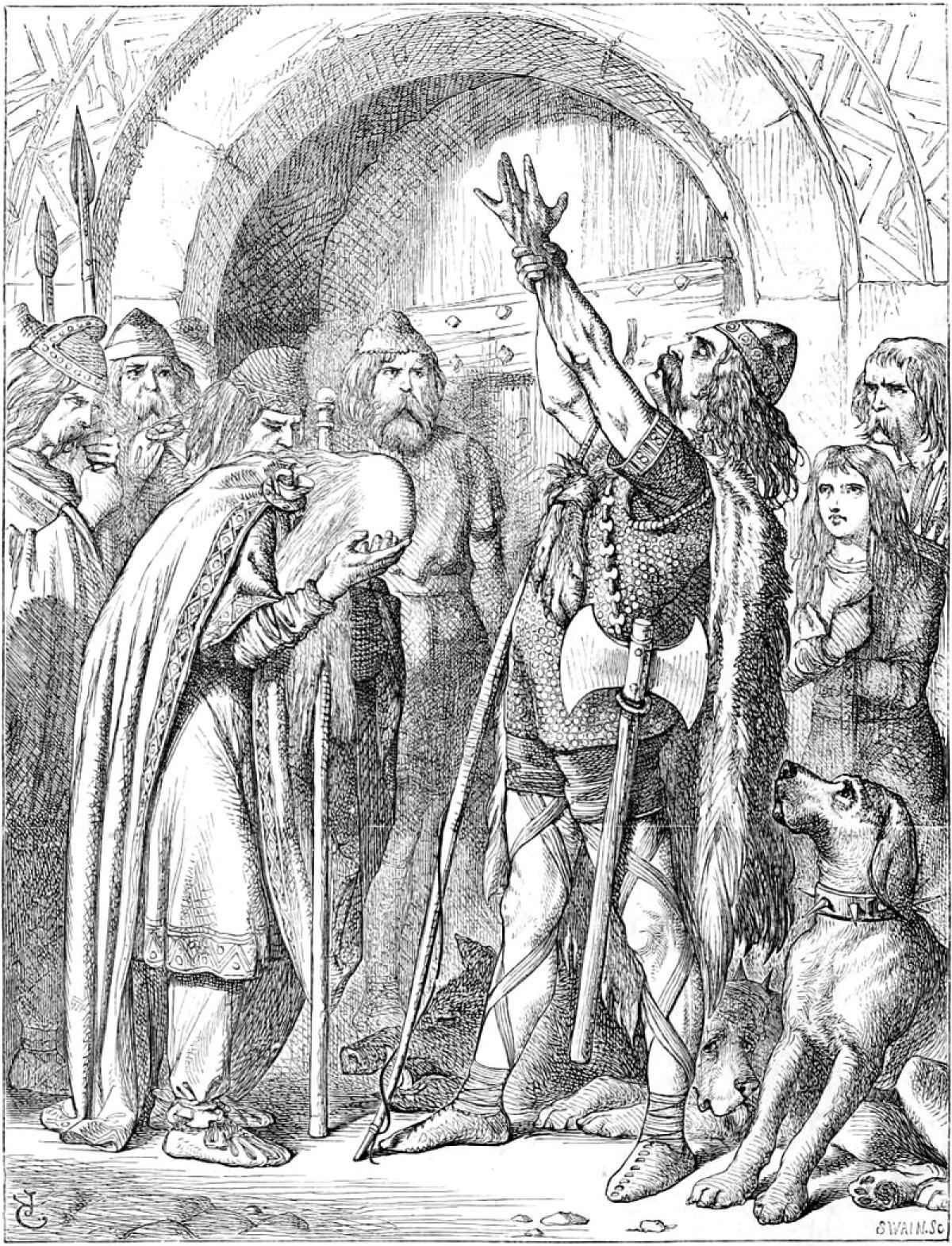Histoire de Rennes - Nominoë, considéré comme premier roi de Bretagne, lève les bras face à un homme abattu