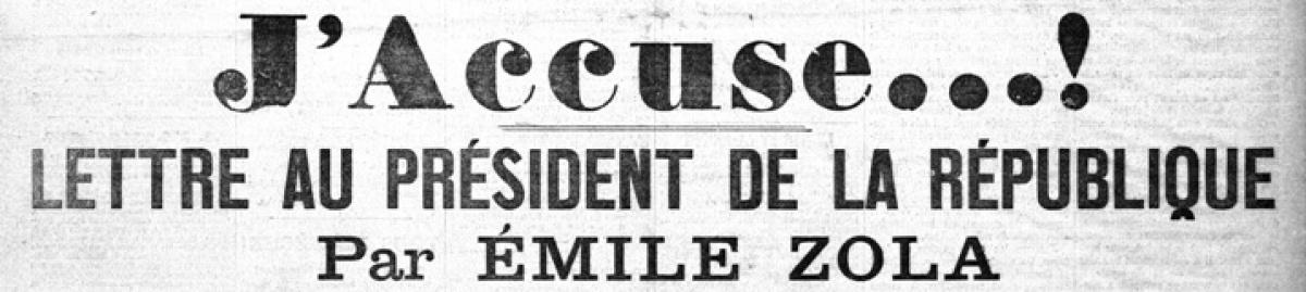 Histoire de Rennes - J'accuse, Une de l'Aurore adressée au président de la république, par Émile Zola