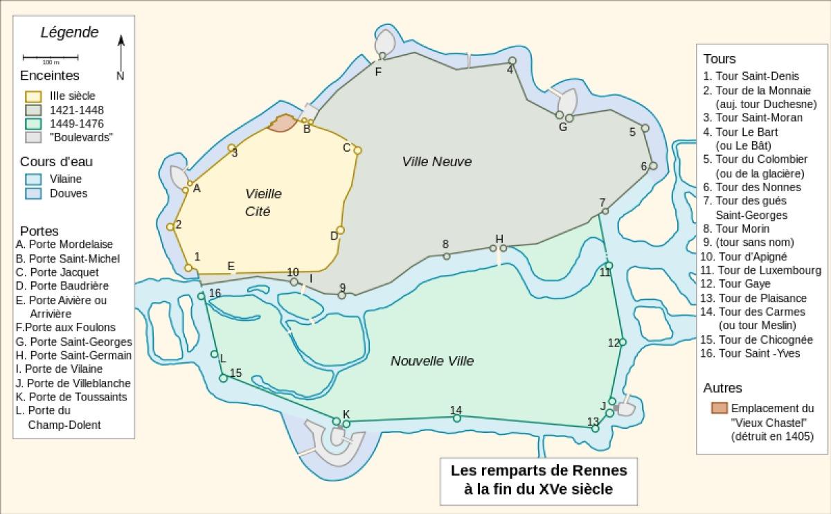 Histoire de l'architecture à Rennes - Plan des remparts de la ville de Rennes au XVème siècle