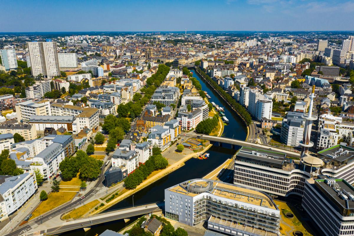 Rennes – Vue aérienne de Rennes et de la Vilaine